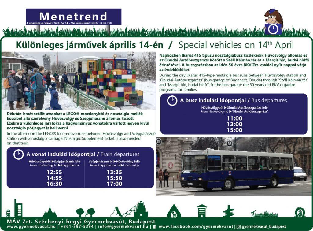 Különleges járművek menetrendje április 14-én / Special vehicles's timetable on 14th April